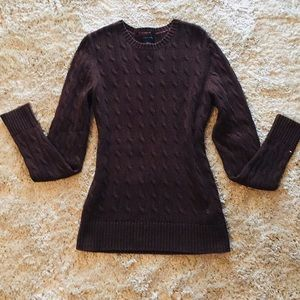 Tommy Hilfiger Chocolate Brown Cable Sweater
